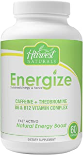 Energize Capsules - Sustained Energy & Focus - 60 Count - Harvest Naturals