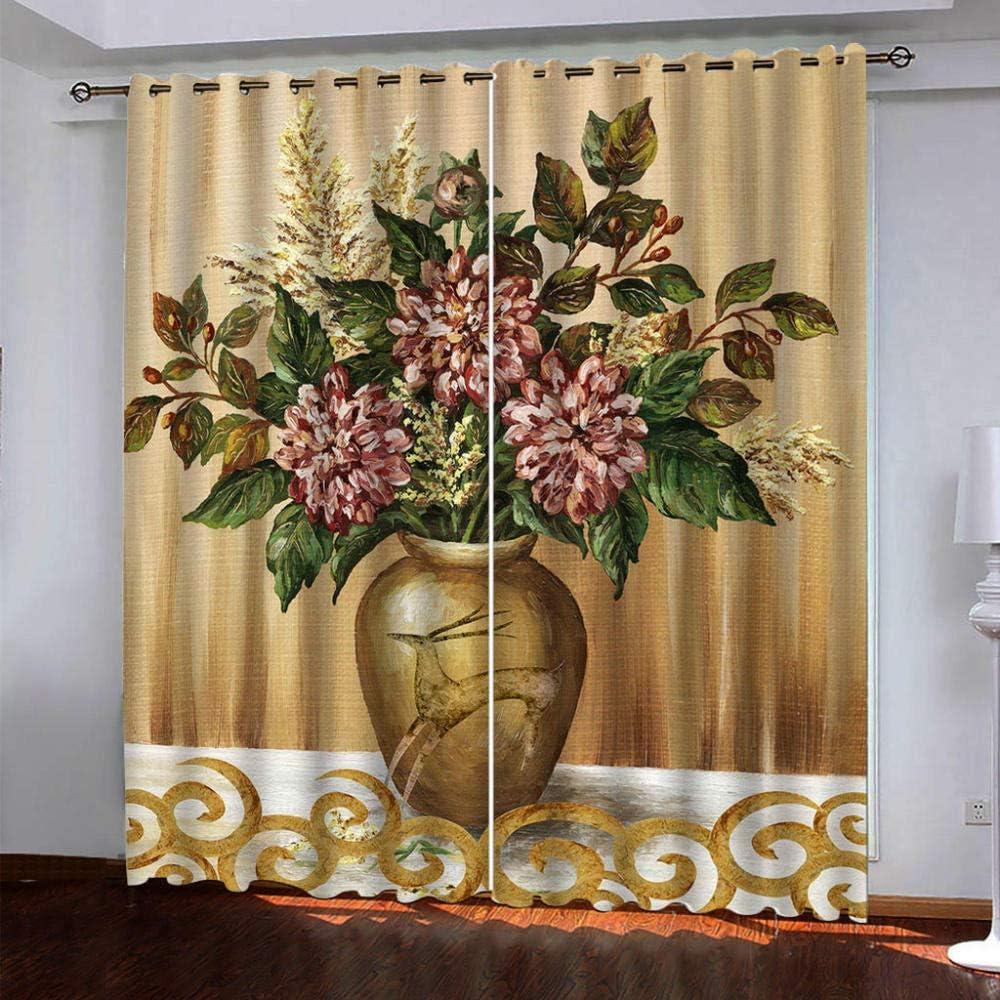 SDSONIU 3D Blackout Curtains for Room Living Washington Mall Vase Vintage Direct sale of manufacturer Golden