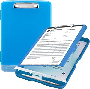 Sooez Clipboard with Storage, High Capacity Nursing Clipboards with Pen Holder, Heavy Duty Plastic Storage Clipboard with Low Profile Clip, Clipboard Folder Side-Opening, Smooth Writing for Office