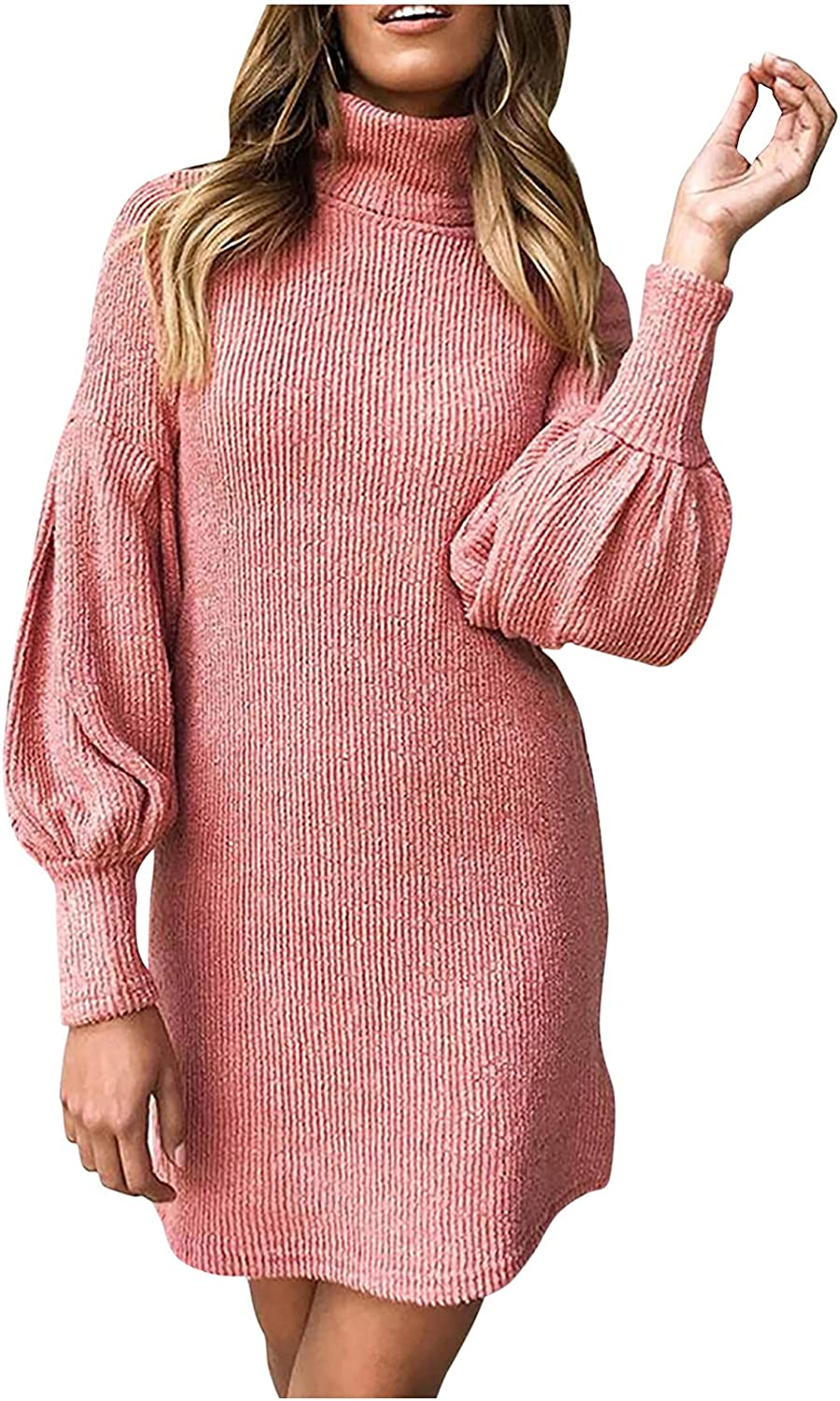 LUGOGNE Fall Sweaters for Women Black Turtleneck Casual Solid Color Long Sleeve Loose Fit Dress Pullover Sweater