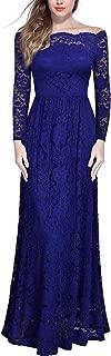 Miusol Women's Vintage Off Shoulder Floral Lace Long Sleeve Formal Maxi Dress