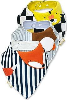 Baberos para Bebe 3 Piezas de Animalitos Zorro Pinguino Tigre Tipo Bandana Unisex para Niño y Niña Hecho de 100% Algodon