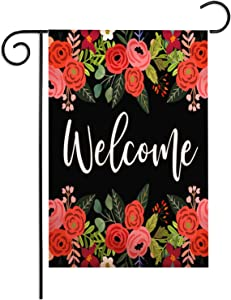 ZUEXT Welcome Home Rose Yall Outdoor Cotton Linen Garden Flag 12.5x18Inch, Double Sided Colorful Floral on Black Background Outdoor Yard Flags, Spring Summer Rustic Farmhouse Garden Yard Decorations