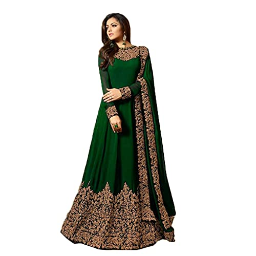 06f2b86ccc MONIKA SILK MILL Women's Georgette Semi-Stitched Anarkali Suit (LT 1701  Green _Green_ Free