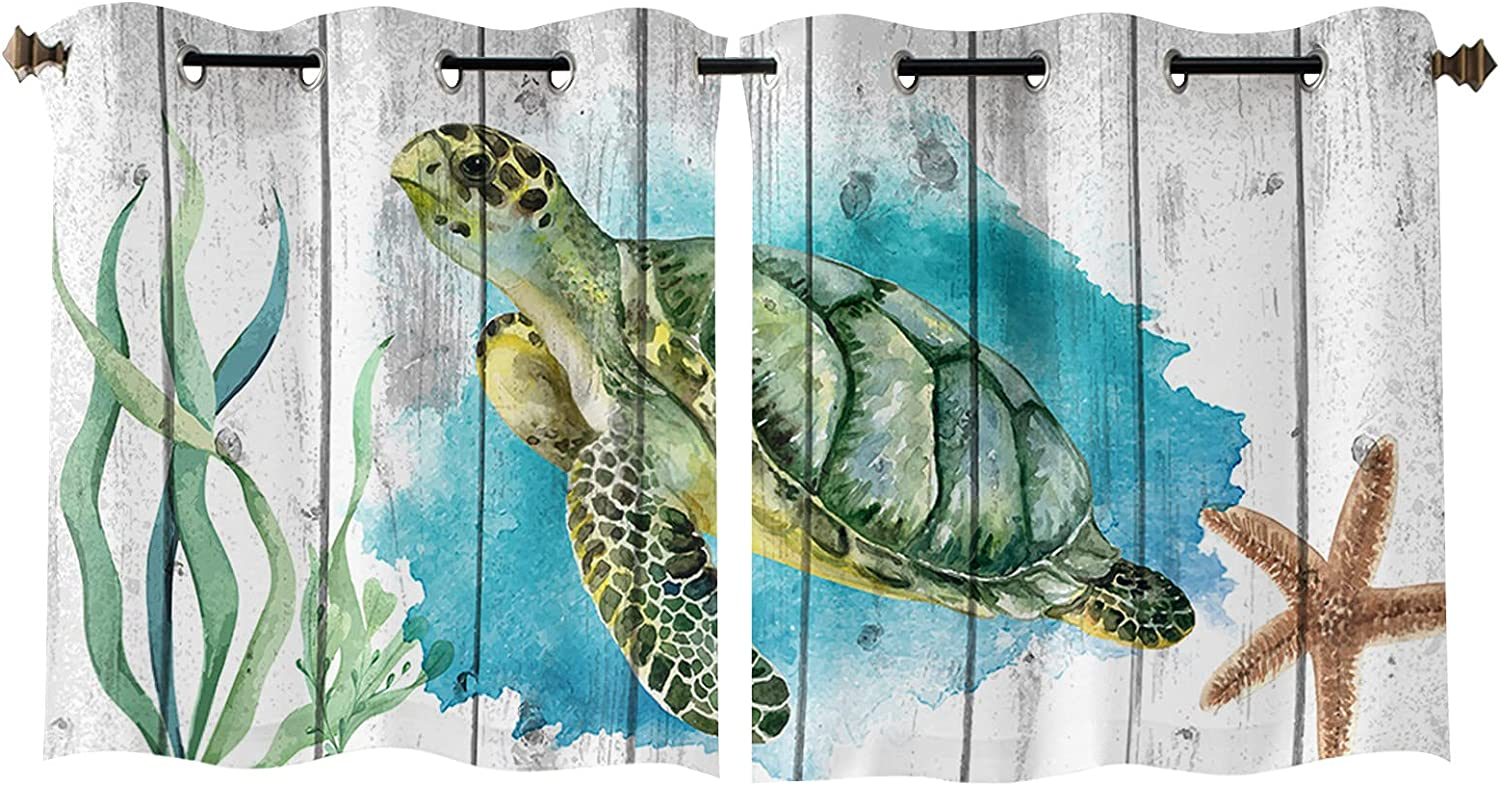Window Curtain Ocean Animal Turtle Sales of SALE items from new works Coral Starfish Home Gro Fashionable Decor