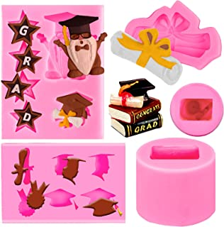 Whaline 4 Pieces Graduation Silicone Molds Graduation Gnome Grad Cap Diploma Star Chocolate Candy Mould Pink Grad Ice Cube...