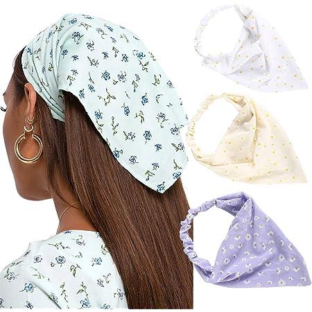 90\u2019s vintage style bandana Triangle Headband Hairband Retro hair accessory Adult girl women Lightweight wide foulard wrap scarf Daisy big