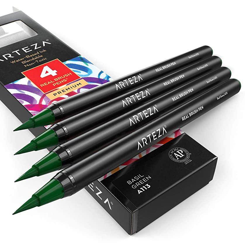 ARTEZA Real Brush Pens (A113 Basil Green) Pack of 4, for Watercolor Painting with Flexible Nylon Brush Tips, Paint Markers for Coloring, Calligraphy and Drawing