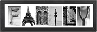 Imagine Letters 6-Opening, White Matted Black Photo Collage Frame