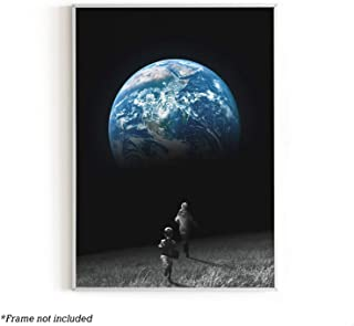 """Urban Willow - Art Prints, Space Wall Decor, Banksy Wall Art, Trippy Posters for Boys, Cool Posters for Guys, Moon Decor and Poster, Moon Painting, Moon Picture Wall Art, 12"""" x 16"""" (On The Moon)"""