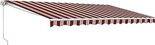 ALEKO AWM16X10MSRED19 Retractable Motorized Patio Awning 16 x 10 Feet Multi-Stripe Red