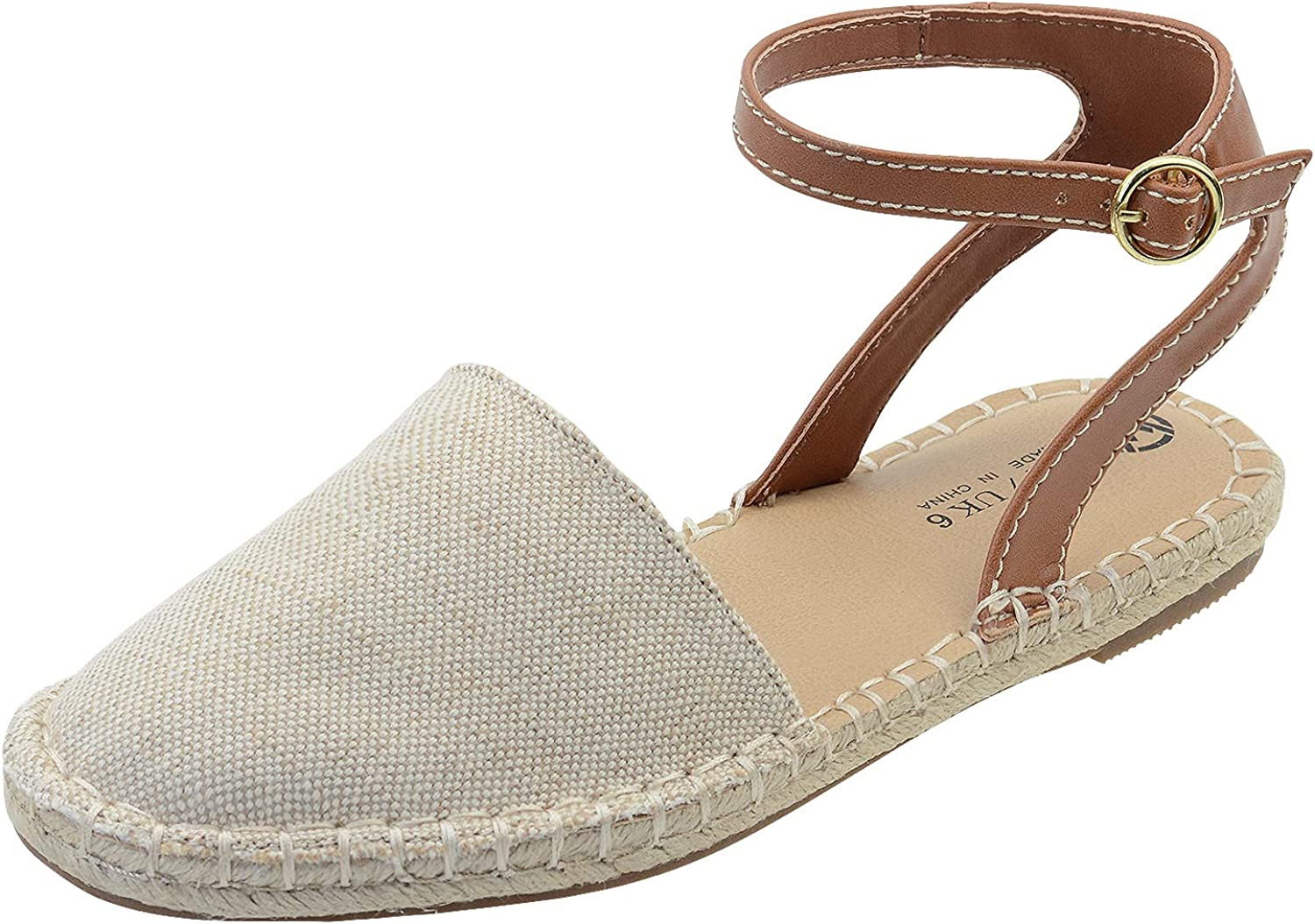 FIBURE Women's Classic Sandals Espadrille Flat with Ankle Adjustable Buckle Closed Toe Breathable Dress Shoe