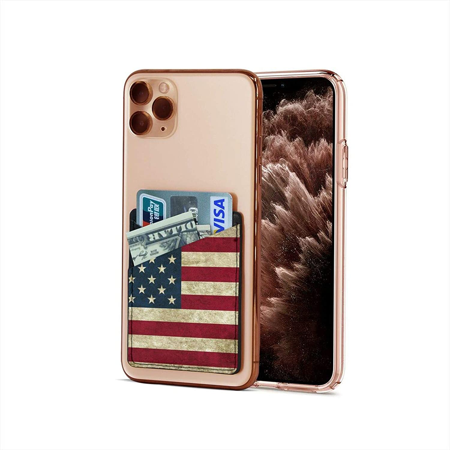 Phone Card Holder American Flag Print Cell Phone Stick On Wallet Card Holder for iPhone, Android and All Smartphones
