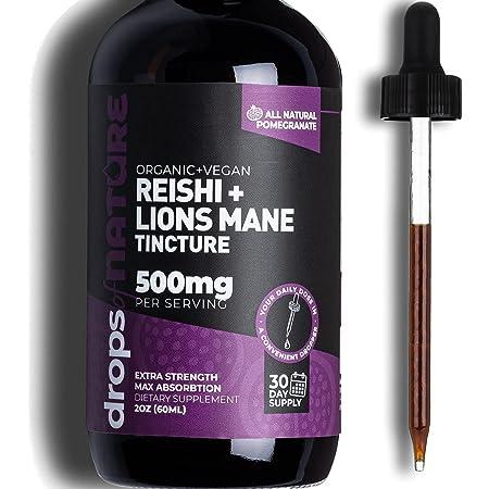 Lions Mane Extract + Reishi Mushroom Immune Defense, 2 fl. oz. Pomegranate Liquid Drops, Immunity Boosting Antioxidants to Fight Free Radicals, Sublingual