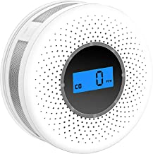 Combination Smoke and Carbon Monoxide Detector with Display, Battery Operated Smoke CO Alarm Detector (White-001)