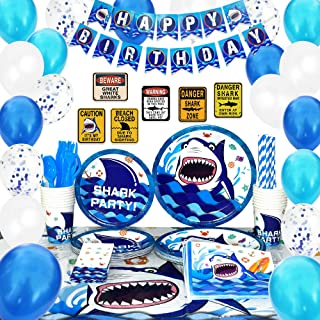WERNNSAI Shark Party Supplies Set - Blue Ocean Pool Party Decorations for Boys Kids Birthday Banner Signs Balloons Cutlery...