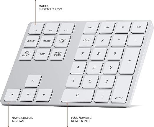Satechi Teclado Númerico con Bluetooth – Recargable con 43 Teclas – Compatible con iMac Pro/iMac, 2020/2019/2018 MacBook Pro, 2020/2018 MacBook Air, ...