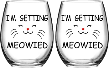 I'm Getting Meowied Fuuny Stemless Wine Glass, Engagement Wedding Bridal Shower Gift for Cat Lovers Fiancee Bride Engagement Party Christmas, 15 Oz, Set of 2