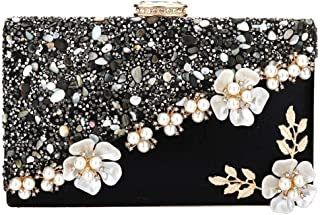 Evening Bags for Women Prom Party Wedding Evening Clutch Purse Satin Floral Gravel Decor Handbags