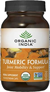 Organic India Turmeric Curcumin Herbal Supplement - Joint Mobility & Support, Immune System Support, Healthy Inflammatory ...