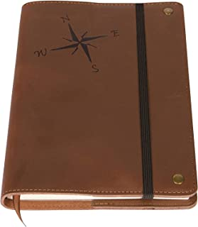 The Compass Rose Real Leather Journal Notebook, 6 x 9 Inch, 200 Lined Pages Travel Personal Diary, Quality College Ruled Notebooks and Journals To Write In for Men and Women from The Amazing Office