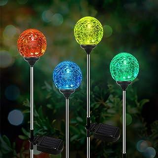 OxyLED solarna lampa ogrodowa LED, 4-częściowy zestaw szklanych kulek, solarne globe światła, zmieniające kolory, oświetle...