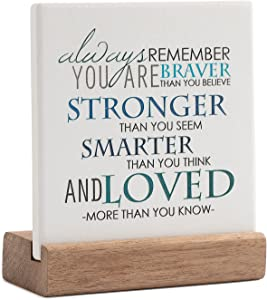 Lukiejac Inspirational Quotes Desk Decor Gifts For Women Best Friend Encouragement Cheer Up Gifts Office Inspiration Positive Plaque With Wooden Stand For Cowoker Motivational Sign For Birthday (Blue)