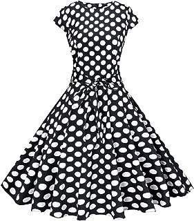 Vogtage 1950's Polka Dot&Solid Color Vintage Swing Dress Waistband