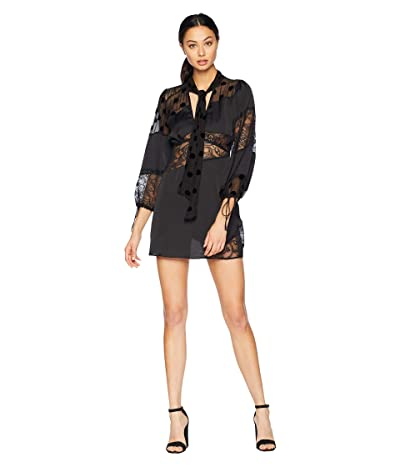 For Love and Lemons Rosalyn Paneled Mini Dress (Noir) Women