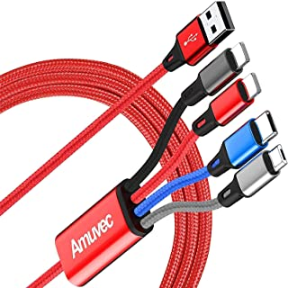 Amuvec Multi Charging Cable, 4 in 1 Nylon Braided Multiple USB Charger Cable Fast Charge with 2 iP Micro USB Type C Connec...