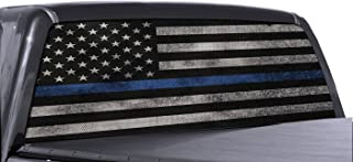 EZ CUT PRO Blue Thin Line American Flag Perforated Vinyl Decal Truck Rear Window Sticker 65
