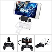 PS4 Controller Phone Mount, Megadream 180 Degree Adjustable Android Smartphone Game Clip Bracket Holder for PS4, PS4 Slim, PS4 Pro, Samsung Galaxy, HTC One, LG, Sony Xperia, Moto (PS4 Mount)
