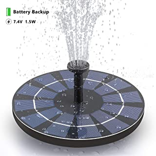 SOARAISE Solar Bird Bath Fountain Pump with Battery Pack, 1.5W Powered Fountain Free-Standing Outdoor Solar Panel Kits Water Pump for Birdbath, Garden, Pool, Pond