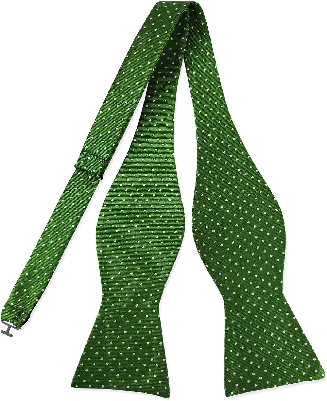 PenSee Mens 100% Silk Bowtie Holiday Wedding Classic Polka Dots Jacquard Tuxedo Party Self Bow Tie