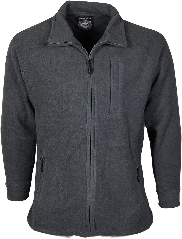 Kams New Mens Zip-Up Fleece Long Sleeve Collared Jacket Regular Fit Casual long Sleeve Sweatshirt Size S-XXL