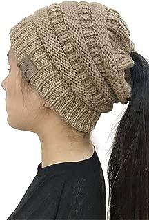 Legou Women's Knit Messy Bun Ponytail Beanie Hat