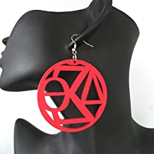 delta Sigma theta sign wooden earrings