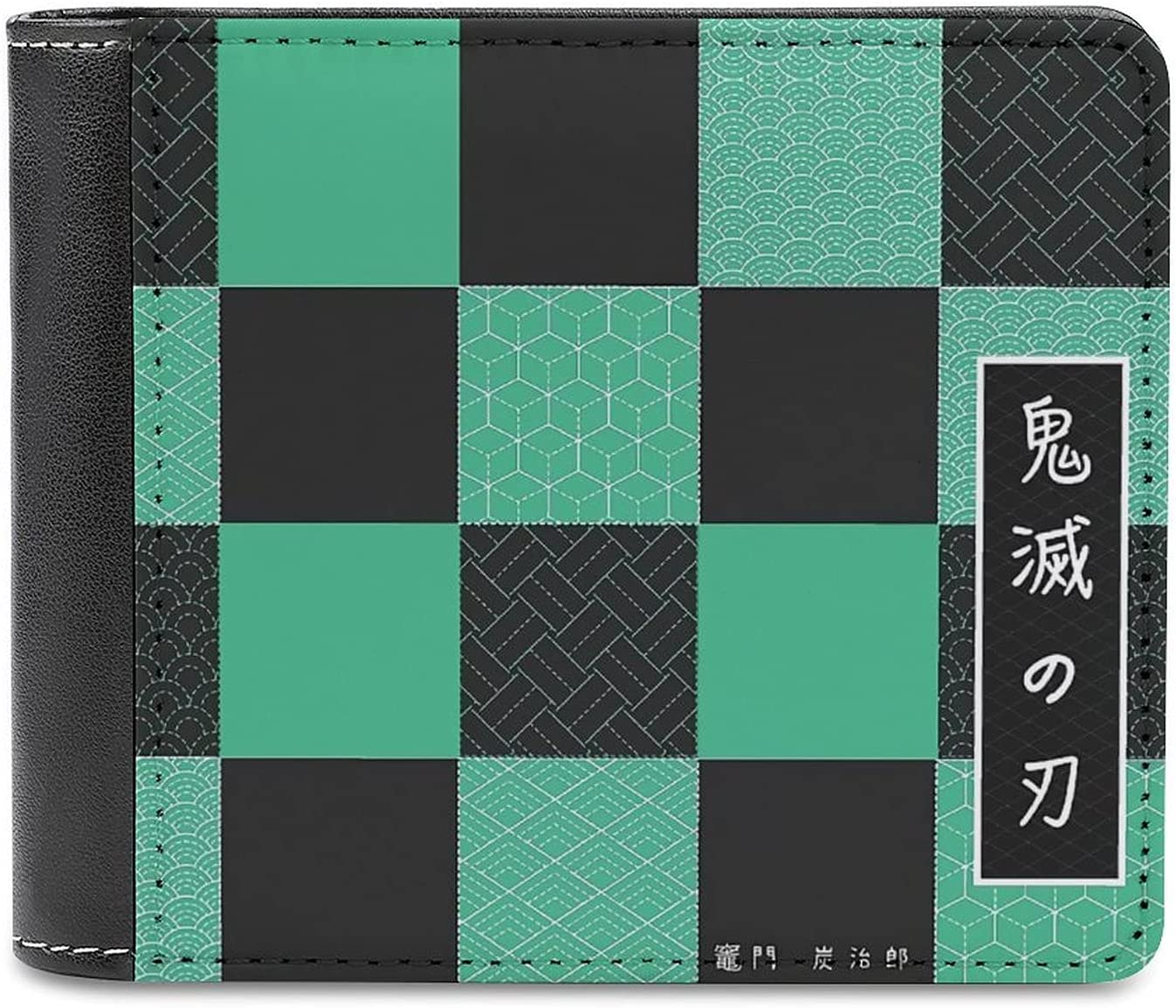 Tanjiro Kamado Mens Wallet Portable PU Leather Bifold Wallets Credit Card Holder 4.6 Inch Slim Design Purse