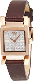 Emporio Armani Women's Silver Dial Leather Analog Watch - AR11280, Rose Gold