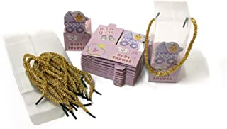 24 Pcs Favor Boxes with Handles and PVC Cover (Pink)