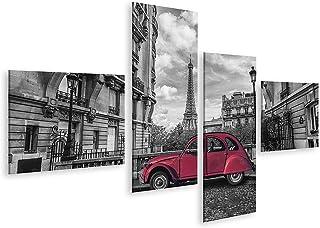 islandburner Cuadro en Lienzo La Torre Eiffel en París y el Coche Retro Rojo en Blanco y Negro Cuadros Modernos Decoracion Impresión Salon
