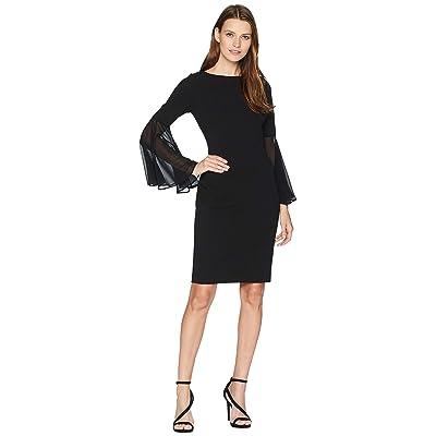 Calvin Klein Chiffon Sleeve Sheath Dress CD8C11RF (Black) Women