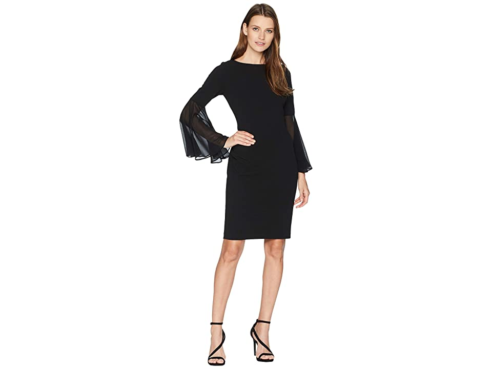Calvin Klein Chiffon Sleeve Sheath Dress CD8C11RF (Black) Women