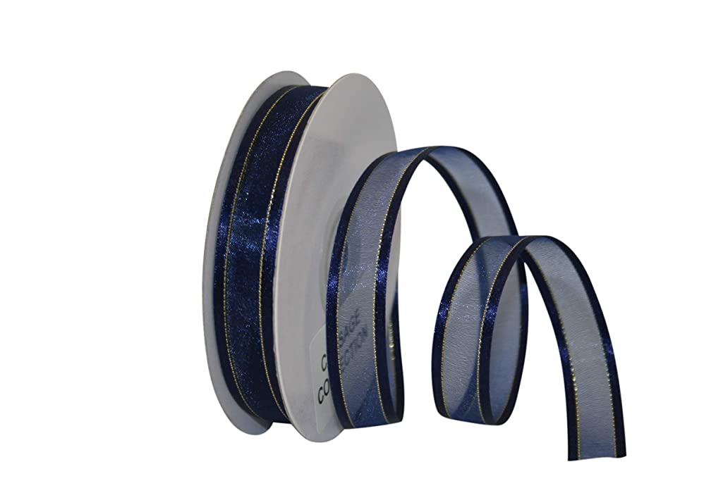 Reliant Ribbon 25205-055-03J Sheer Satin Edge Metallic Ribbon, 5/8 Inch X 25 Yards, Navy
