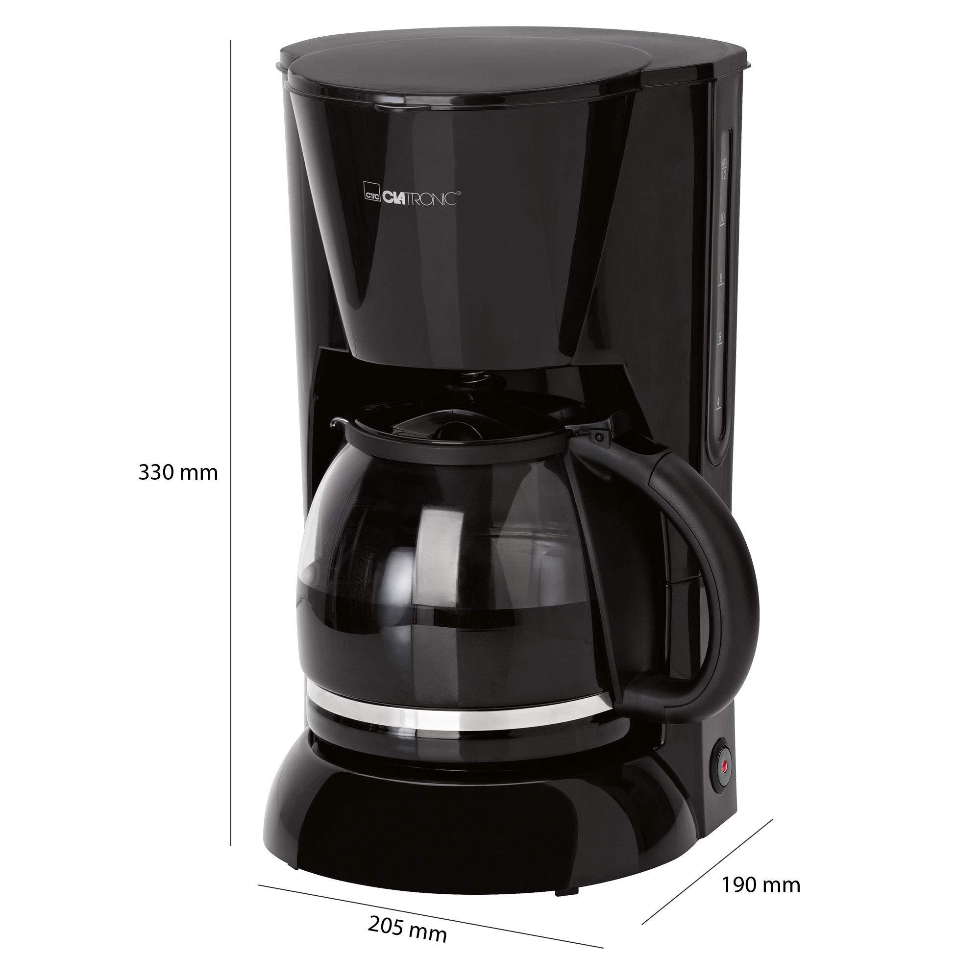 Clatronic KA 3473 Cafetera eléctrica de goteo automática, 900 W, 1.5 litros, plástico, Negro: Clatronic: Amazon.es: Hogar
