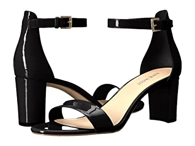 Nine West Pruce Block Heel Sandal (Black Sleek Patent PU) High Heels