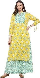 Antaran Yellow 3/4th sleeve cotton women's kurta set with printed palazzo