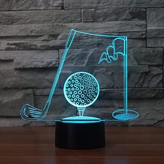 Golf 3D Illusion Lamp Night Light 7 Colors Change Night Light Touch Button Creative Design Decorative Lighting Effect Lamp