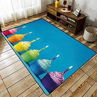 Skid-Resistant Rug,Birthday,Cupcakes in Rainbow Colors with Candles Fun Homemade Party Food Sweet Delicious,Rustic Home Decor,3'3
