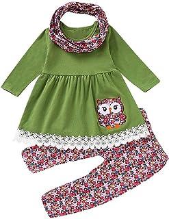 JERFER Children Kids Girls Cartoon Embroider Owl DressFloral PantsScarf Set Outfit